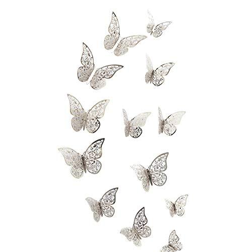 Zegeey Eingestellt DIY Schmetterlings Wandaufkleber Wandtattoo Wanddeko Dekor FüR Fenster Flur KüChe Kinderzimmer Wohnzimmer Babyzimmer Autos Fahrzeuge (B-Silber)