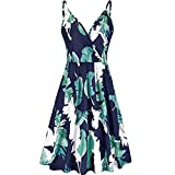 Giulot Womens Sleeveless Summer Dress Floral Printed Adjustable Spaghetti Strap Dresses Party Cocktail Evening Gown Navy