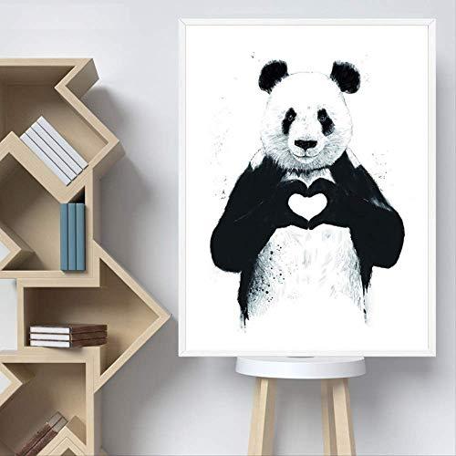 Lunderliny Panda Cuadros De Pared para Salón Nordic Poster Animales De Dibujos Animados De Arte De Pared De Pintura En Tela, Vivero De Imagen Sin Enmarcar para La Decoración del Hogar 50x70cm