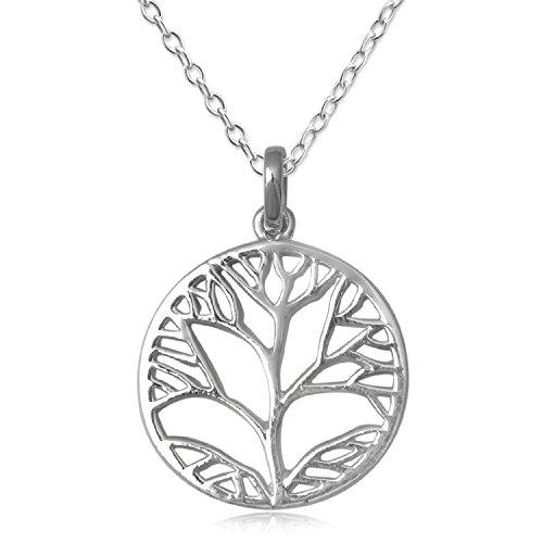 EYS JEWELRY® Damen-Halskette 60 cm Baum des Lebens Lebensbaum Weltenbaum 28 x 21 mm blank 925 Sterling Silber silber im Etui Damenkette Anhänger