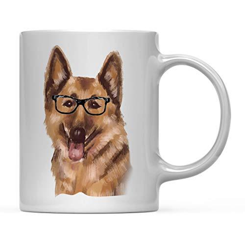Andaz Press Funny Preppy Dog Art 11oz. Coffee Mug Gift, German Shepherd in Black Glasses, 1-Pack, Christmas Birthday Present Ideas for Him Her Dog Lover