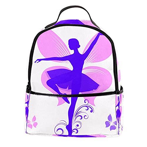 Mochila Monedero Bolso para portátil para mujer Mini de cuero Chica de la bailarina de dibujos animados con alas de la mariposa para viajes al aire libre