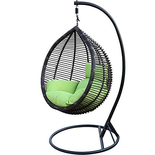 BIIII Silla de Huevo Colgando, Colgando hamacas C-Stand y cojín sillón de ratán para Patio al Aire Libre Porche Backyard césped