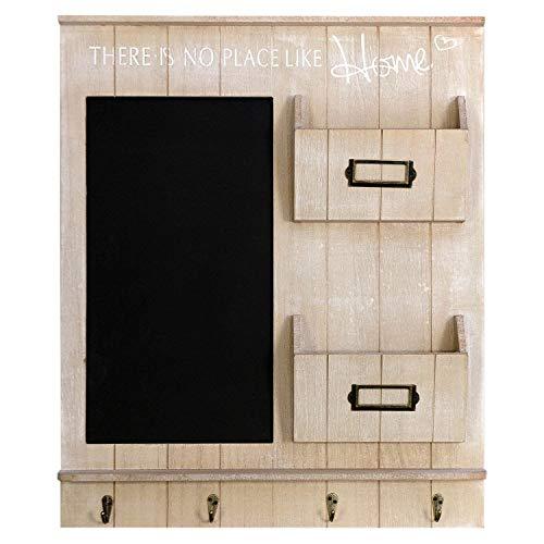 Wohaga Organizador de pared elegante – Pizarra para notas con pizarra, tabla para llaves y 2 bolsillos de madera, 61 x 50 x 6 cm, perchero de pared de madera
