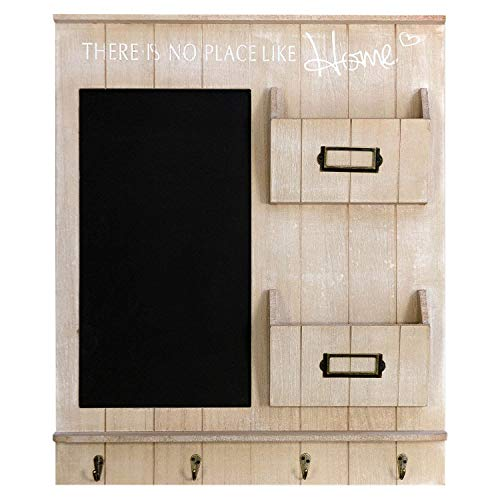Wohaga Edler Wandorganizer - Memoboard mit Kreidetafel, Schlüsselbrett und 2 Holztaschen, 61x50x6cm, Holz Wandgarderobe