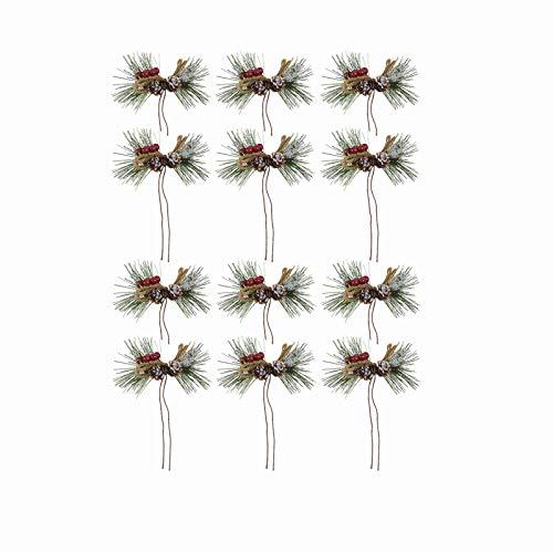 SANGDA Artificial Pine Picks, 12 Pcs Red Berry Picks Stems Christmas Tree Picks Holly Berry Craft Holly Red Berry Pine Leaves Needle for Christmas Garland Holiday Wreath Ornaments