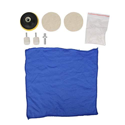 8pcs almohadillas de pulido parabrisas de coche removedor de arañazos de vidrio pulidor 100g óxido de cerio en polvo Kit de pulido Juego de ruedas Juego de almohadillas de pulido Juego de accesorios