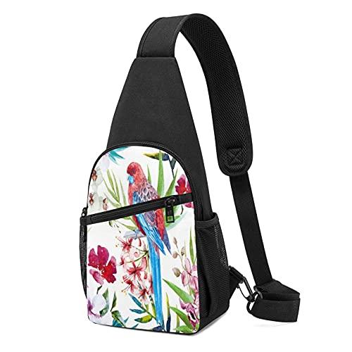 DJNGN Red Parrot Butterfly Flower Garden Sling Bags Pecho multiusos Crossbody Rope Bag Mochila de hombro Ligero Divertido Mochila pequeña Mini bolsa organizadora de viaje Bolsas para hombres, mujeres