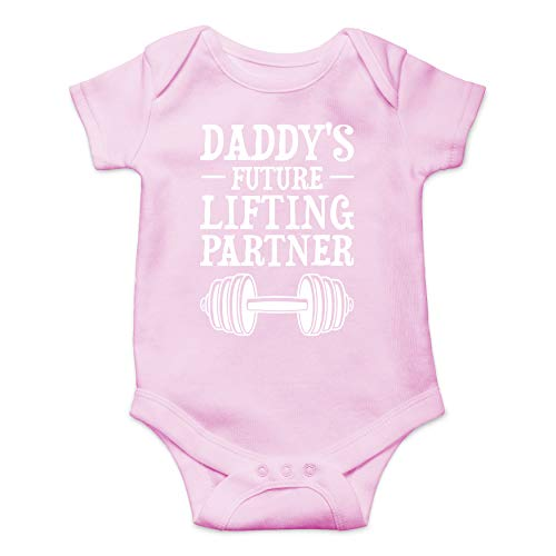 Daddy's Future Lifting Partner - Funny Cute Infant Creeper, One-Piece Baby Bodysuit (Pink, 6 Months)