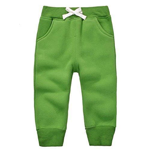 CuteOn Unisex Toddler Jogger Pants Kids Cotton Elastic Waist Winter Baby Sweatpants Pants 1-5Years Grass Green