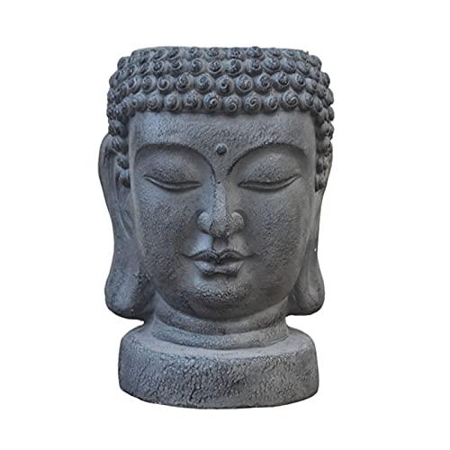 LAHappy Estatua de Cabeza de Buda Maceta, Figura Escultura de Buda de Jardín, Regalo Budista Chino Feng Shui para decoración de Patio Porche,M