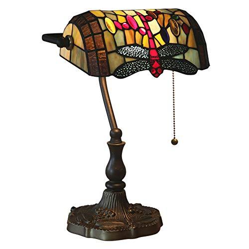 Banqueros lámpara Lámpara de mesa,Tiffany Style Libélula Estilo Lámpara de Escritorio Hecho a mano Vitral Abalorio con Base de Zinc Sala de Estar Oficina Estudio Dormitorio cabecera Lámpara de Lectura