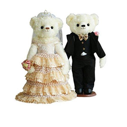Lovely Mariage Ours mignon nounours jouet Cadeau de mariage (Dentelle Voile/noir Costume)