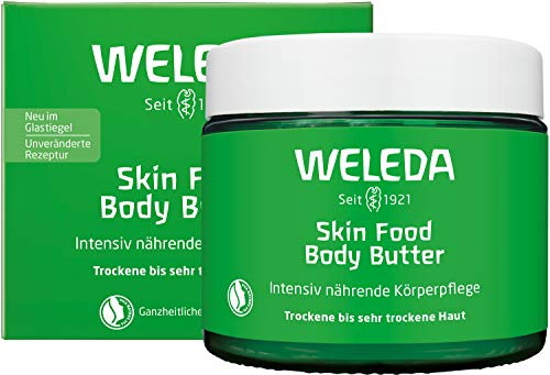 WELEDA Skin Food Body Butter vegane Körperpflege in neuem Glastiegel, reichhaltige Naturkosmetik Feuchtigkeitspflege mit Shea- und Kakaobutter für trockene Haut (1 x 150 ml)