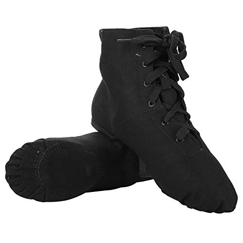 Tbest Zapatos de Baile de Danza,Botas de Danza Moderna Jazz de Lona Lace Up Respirable Suave Botas Zapatos Zapatillas de Dance de Yoga de Gimnasia para Mujer Hombre para Adultos Niños,Negro(40)