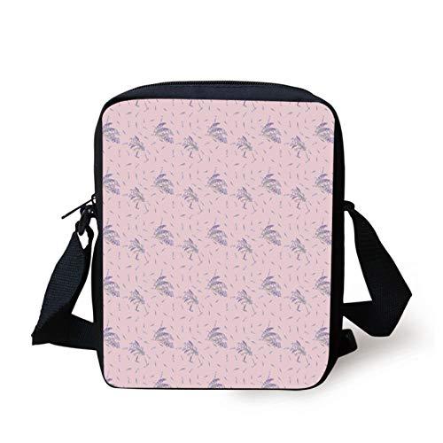 Lavender Kids Crossbody Messenger Bag Purse,Vintage Style Romantic Feathers...