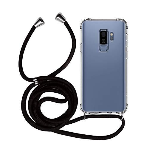 MyGadget Funda Transparente con Cordón para Samsung Galaxy S9 Plus - Carcasa Cuerda y Esquinas Reforzadas en Silicona TPU - Case y Correa - Negro