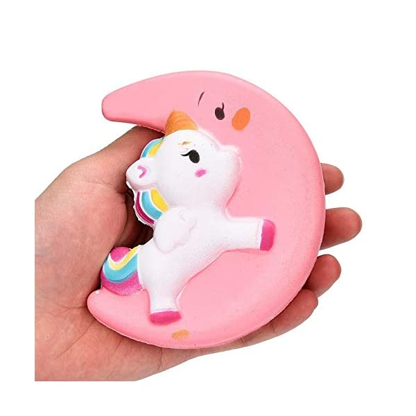 Fun Toys Squishies, Kawaii Moon Unicorn Squishy, Creamy Aroma Slow Rising Squeeze Toys for Boys and Girls Gift (Color : Yellow) 6