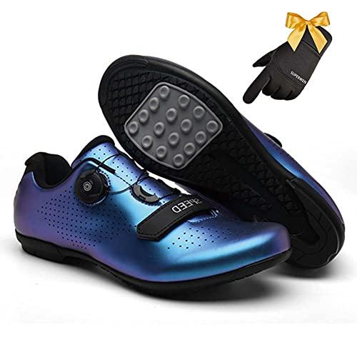 SUPERWEN Zapatos de ciclismo al aire libre sin bloqueo Racing Road Bike Shoes Hombre Zapatillas antideslizantes Ciclismo Bicicletas Zapatos (37, Descoloración Azul)