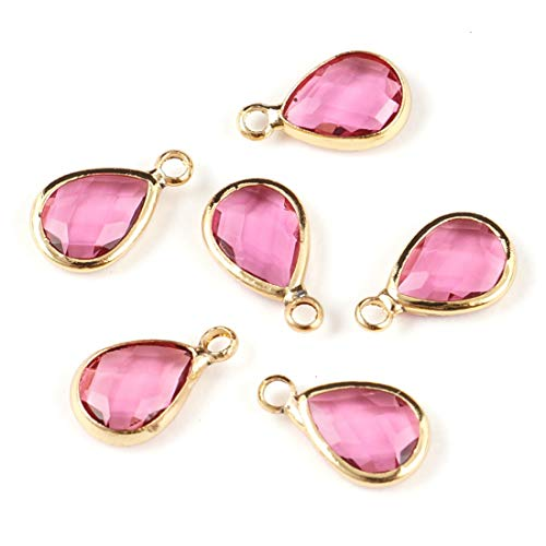 10pcs July Ruby Birthstone Charms 11x7mm Teardrop Crystal Beads Gold Plated Brass for Jewelry Craft Making CCP14-7
