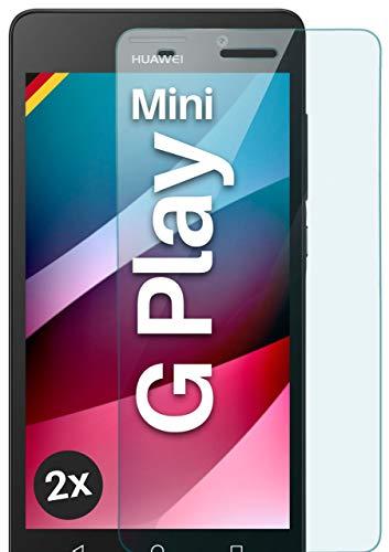 moex Panzerglas kompatibel mit Huawei G Play Mini - Schutzfolie aus Glas, bruchsichere Bildschirmschutz Folie, Crystal Clear Panzerglasfolie, 2X Stück