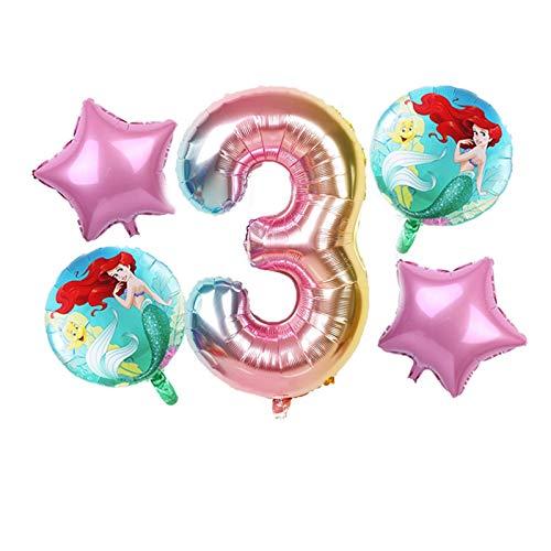 JSJJAES Globos 1set Dibujos Animados Princesa Foil Globos Fiesta de cumpleaños Decoraciones para niños Air Globos 30 Pulgadas Número Bebé Juguetes (Color : Light Grey)