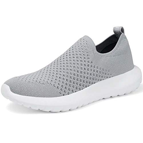 LANCROP Women's Sock Walking Shoes - Comfortable Slip on Easy Office Sneakers 11 M US, Label 43 Grey