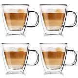 ORION GROUP - Juego de 4 Vasos térmicos de Doble Pared para café, Latte Capuchino, 180 ml