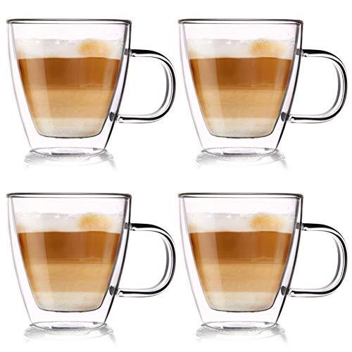 ORION GROUP Thermogläser 4 Stück Kaffeegläser Teeglas Kaffeeglas Doppelwandiges Doppelwandige Gläser Thermoglas für Kaffee Latte Cappuccino Tee 180 ml