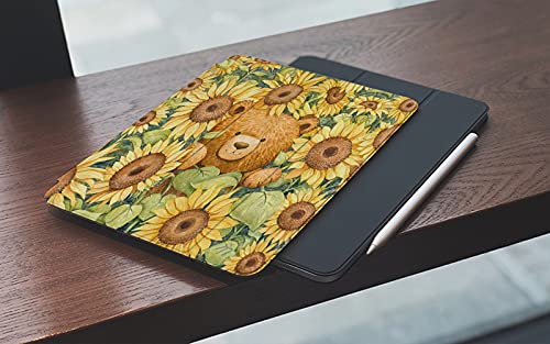 MEMETARO Funda para iPad (9,7 Pulgadas 2018/2017 Modelo), Lindo Oso Pardo Girasol otoño pequeño Oso impresión Vintage Animal Flor Arte Smart Leather Stand Cover with Auto Wake/Sleep
