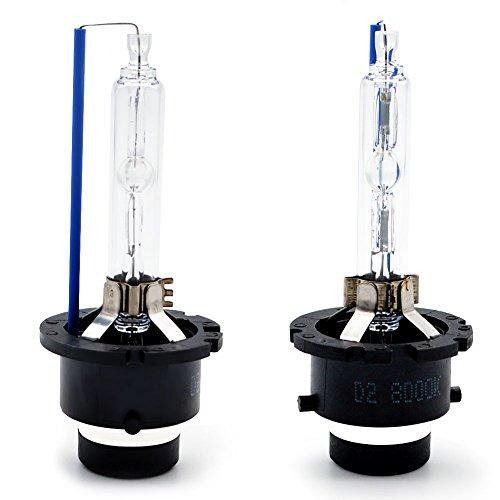 Kashine D2S Xénon Kit 8000K HID Lampe à Décharge Phare 35W Blanc Froid Remplacer pour Halogène ou LED Ampoules Extérieures (2 pièces)