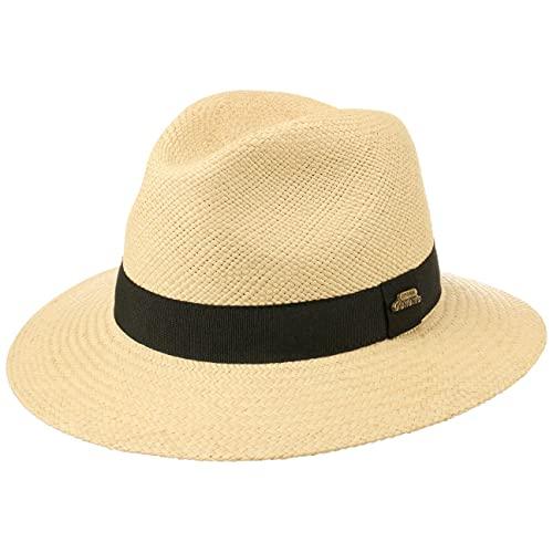 Lipodo Classic Traveller Panamahut Damen/Herren (Kopfhöhe ca. 10,5 cm) - Made in Italy - Travellerhut aus Panamastroh - Strohhut mit Ripsband - Sonnenhut - Frühjahr/Sommer Natur L (58-59 cm)