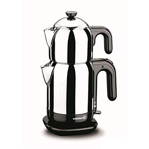Korkmaz Demtez Electrical Teapot- Black/Caymatik / A369 Teekocher, Edelstahl, schwarz, 9,5 x 8,5 x 6,75 cm, 4-Einheiten