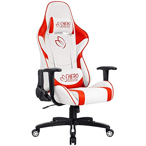 Homall High Back Computer Desk Leather Executive Adjustable Swivel Gaming Racing Office Chair, Red