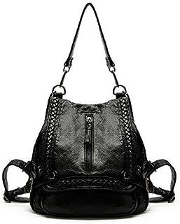 Multifunction leather backpack stylish shoulder bag travel bag for women DN9 black