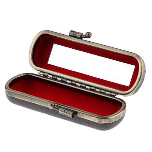 MERIGLARE Boîte De Rangement De Bijoux Compacte De Support De Brillant à Lèvres De Rouge à Lèvres Avec Miroir Et Clip En Métal - Gris foncé