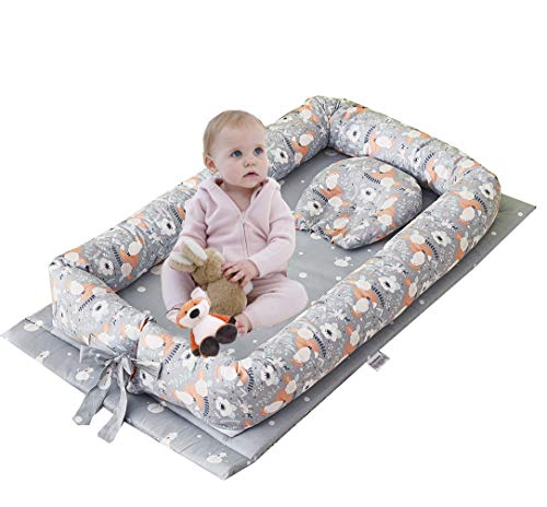 Brandream Baby Nest Bed Fox, Floral Baby/ Newborn Lounger, Gray Neutral Baby Portable Crib Super Soft Organic Cotton Breathable Newborn Lounger Gray - Perfect for Co-Sleeping, 0-24 Months