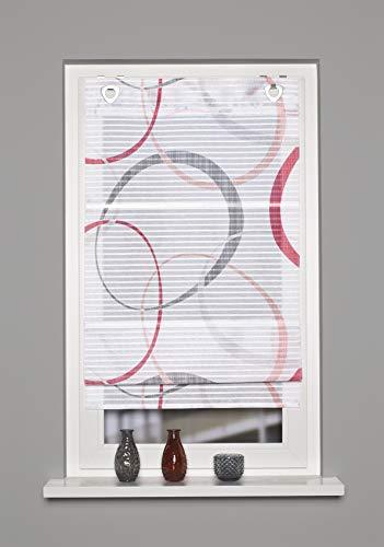 Home Fashion Tenda a Rullo Magnetica a Righe Orizzontali, Stampa Digitale Vitus, Colore: Rosso, 130 x 60 cm