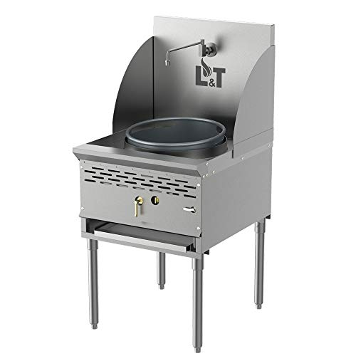 Pantin (Natural Gas) 16' Single Cast Iron Chamber Commercial Restaurant Stainless Steel Compact Wok Range - 128,000 BTU (16'NG)