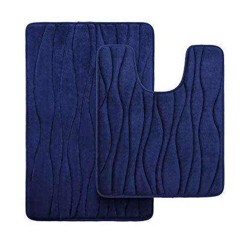 Homaxy Badematten Set 2 teilig Memory Foam Badezimmerteppich WC Vorleger mit Ausschnitt Set Saugfähige rutschfeste Badeteppiche Set Waschbar Badvorleger Set 2teilig, Marineblau