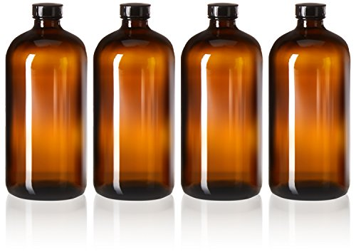4 Pack - 32oz Boston Round Air Tight Seal Amber Glass Growler Kombucha Bottles- with Phenolic Poly Cone Insert Caps for Secondary Kombucha Fermentation and Film Developing Bottles