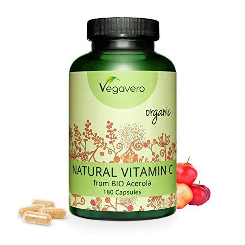 BIO Vitamina C Natural Vegavero | 180 mg | 180 Cápsulas | Sin Aditivos Artificiales | De Extracto de Acerola Orgánica de Brasil | Sistema Inmunitario | Testado en Laboratorio | Apto para Veganos