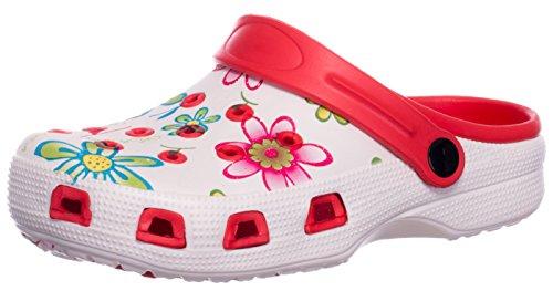 Brandsseller Damen Clogs Pantoffel Schuhe Gartenschuhe Hausschuhe - Farbe: Rot/Weiß - Größe: 37 - Blumenmuster