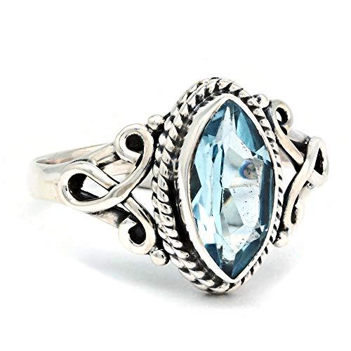 Anello argento 925 con topazio azzurro (MRI 183), dimensioni anello:48 mm/Ø 15.3mm