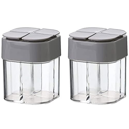 Nephit 2 recipientes para especias, 4 rejillas, de cristal, para filtrar especias, cocina, picnic, restaurante, viajes, color gris