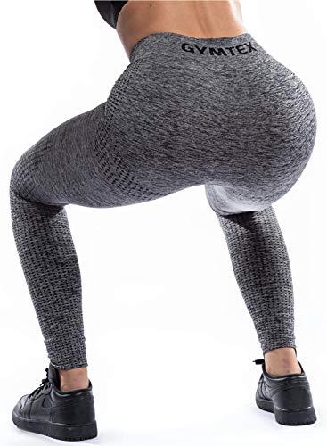 GYMTEX Sport Leggings Damen Blickdicht, High Waist und Seamless für Yoga und Fitness I Sportleggins Damen Lang in Grau oder Rosa - Pink Meliert GT1901 (S, Grau)