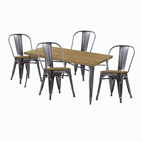 Juego 1 Mesa y 4 sillas, Estructura de Metal Gris Aluminio, Tablero y Asiento de Madera Clara Dim.cm.80x80x76h