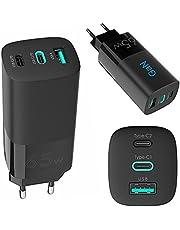 BOOSTEXX 65W USB C snabbladdare, GaN väggadapter med 3 portar, kompatibel med MacBook Pro, bärbara datorer av typ C, iPhone, iPad Pro, Samsung, Xiaomi, Pixel.