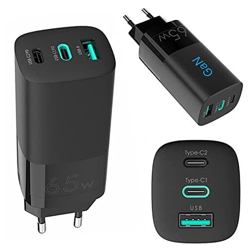 Cargador USB rápido de 65W, GAN Tech 3 Puertos USB C, Mini Adaptador de Pared USB A, Compatible con MacBook Pro, portátiles Tipo C, iPhone, iPad Pro, Samsung, Xiaomi, Pixel, Tablet, Smartphone