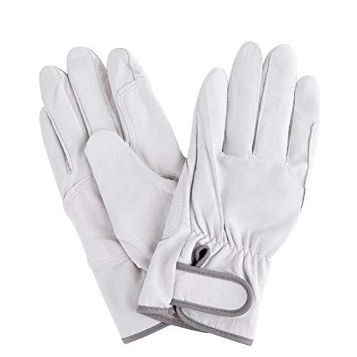 1 par de Guantes de Cuero Resistentes al Calor para soldar Guantes Ajustables de Gancho y Bucle Ajustables para Estufa Horno de Soldadura Forro de algodón Blanco